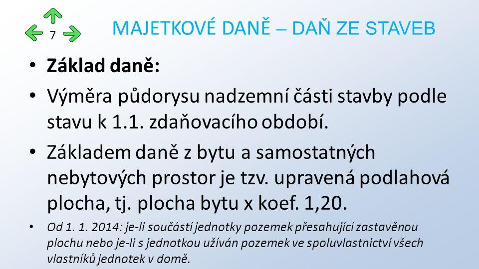 Základ daně: Výměra půdorysu nadzemní části stavby podle stavu k 1.1.