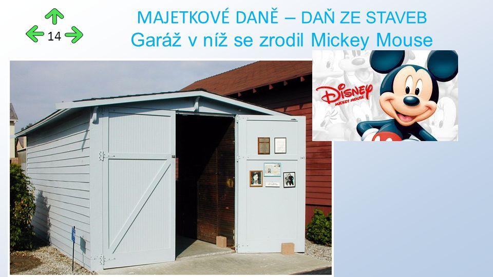 MAJETKOVÉ DANĚ – DAŇ ZE STAVEB Garáž v níž se zrodil Mickey Mouse 14