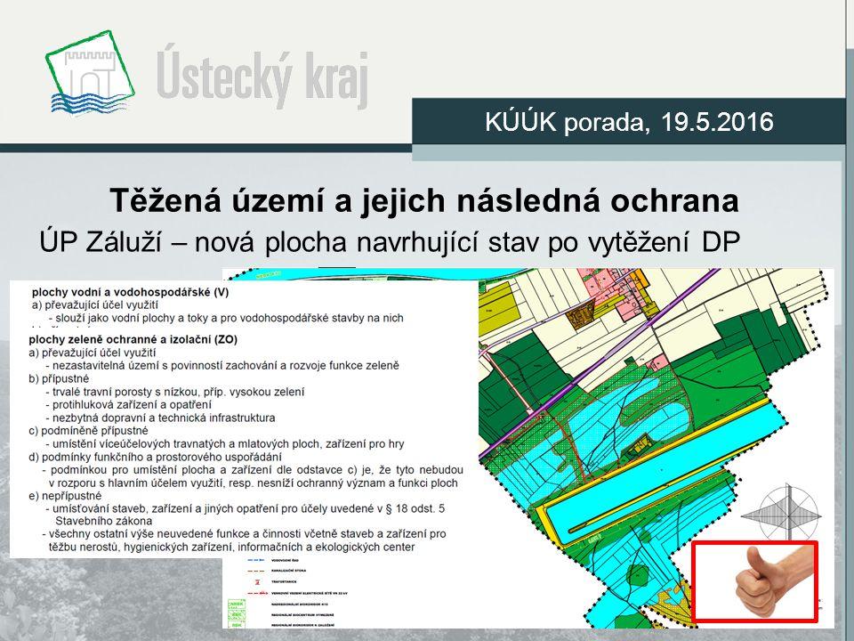 Těžená území a jejich následná ochrana ÚP Záluží – nová plocha navrhující stav po vytěžení DP KÚÚK porada, 19.5.2016