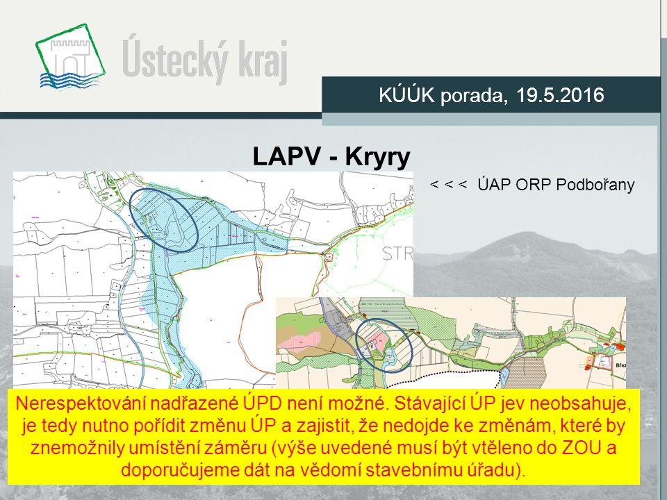 LAPV - Kryry KÚÚK porada, 19.5.2016 < < < ÚAP ORP Podbořany ÚP Kryry výřez >>> kolize dvou stávajících ploch Nerespektování nadřazené ÚPD není možné.