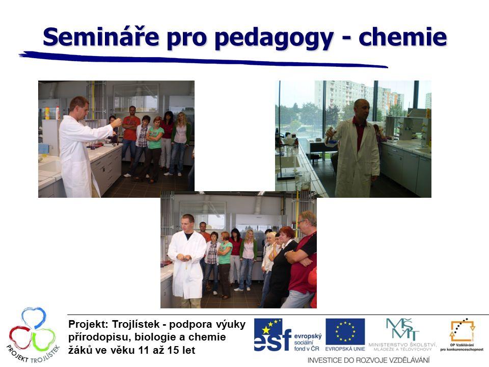 Semináře pro pedagogy - chemie Projekt: Trojlístek - podpora výuky přírodopisu, biologie a chemie žáků ve věku 11 až 15 let