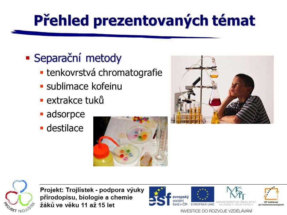Přehled prezentovaných témat Projekt: Trojlístek - podpora výuky přírodopisu, biologie a chemie žáků ve věku 11 až 15 let  Separační metody  tenkovrstvá chromatografie  sublimace kofeinu  extrakce tuků  adsorpce  destilace