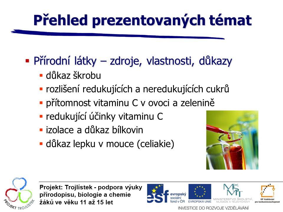 Přehled prezentovaných témat Projekt: Trojlístek - podpora výuky přírodopisu, biologie a chemie žáků ve věku 11 až 15 let  Přírodní látky – zdroje, vlastnosti, důkazy  důkaz škrobu  rozlišení redukujících a neredukujících cukrů  přítomnost vitaminu C v ovoci a zelenině  redukující účinky vitaminu C  izolace a důkaz bílkovin  důkaz lepku v mouce (celiakie)