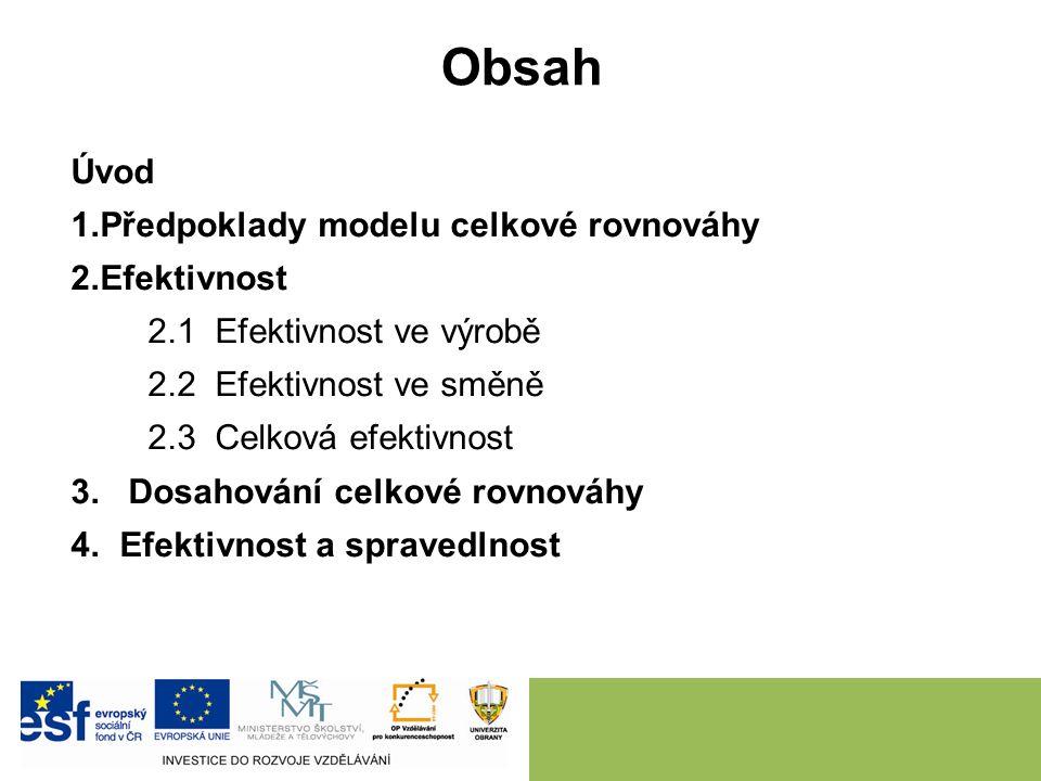 Obsah Úvod 1.Předpoklady modelu celkové rovnováhy 2.Efektivnost 2.1 Efektivnost ve výrobě 2.2 Efektivnost ve směně 2.3 Celková efektivnost 3.