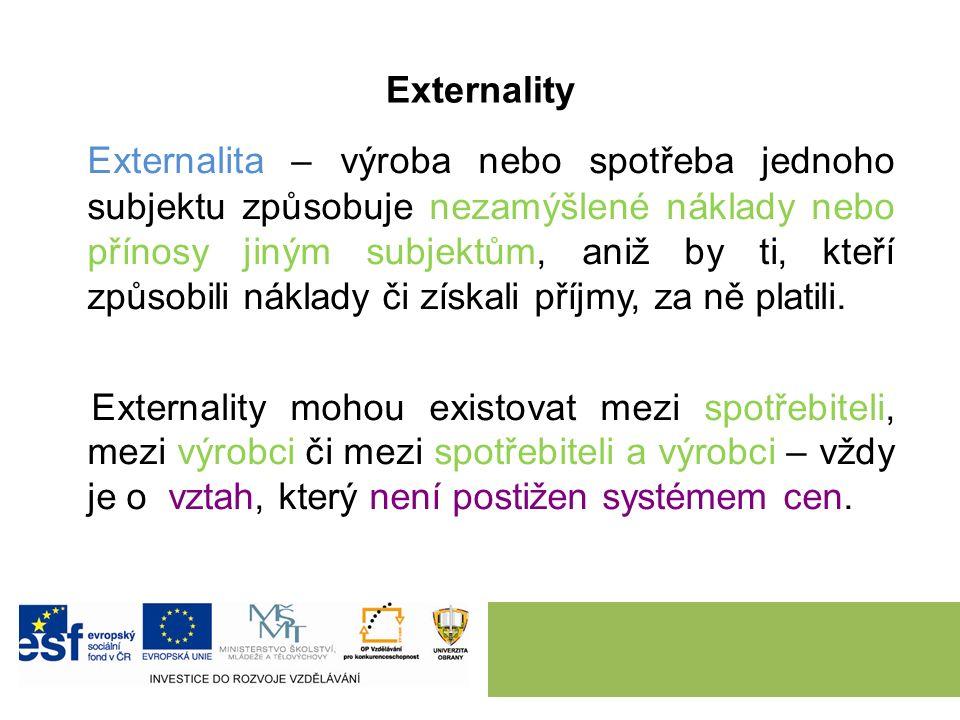 Externality Externalita – výroba nebo spotřeba jednoho subjektu způsobuje nezamýšlené náklady nebo přínosy jiným subjektům, aniž by ti, kteří způsobili náklady či získali příjmy, za ně platili.