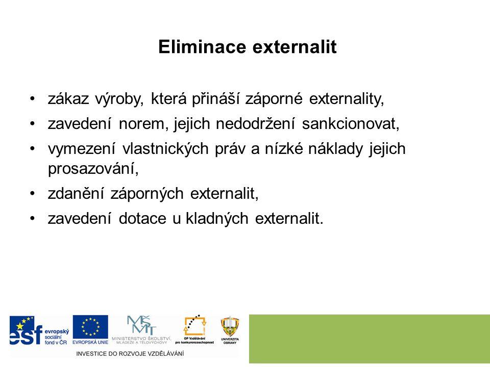 Eliminace externalit zákaz výroby, která přináší záporné externality, zavedení norem, jejich nedodržení sankcionovat, vymezení vlastnických práv a nízké náklady jejich prosazování, zdanění záporných externalit, zavedení dotace u kladných externalit.