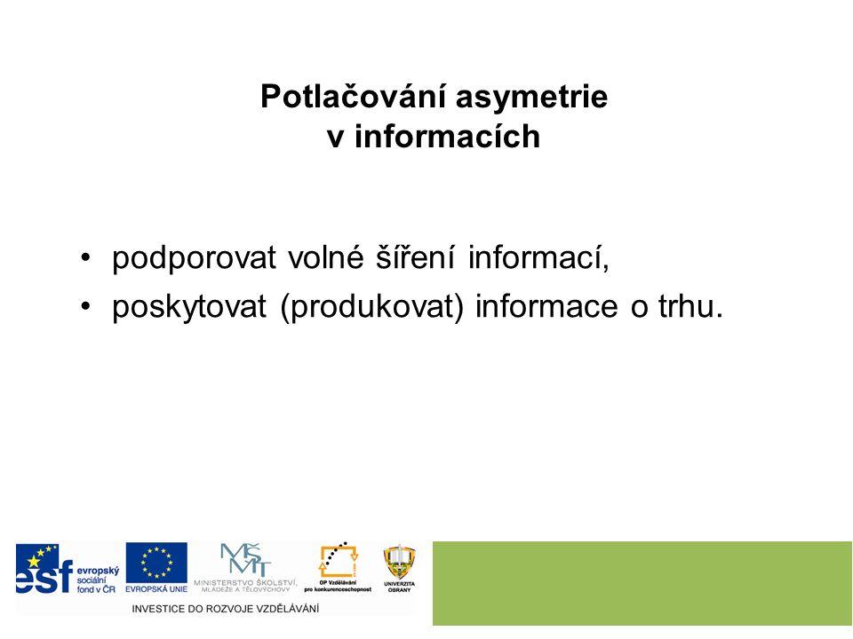 Potlačování asymetrie v informacích podporovat volné šíření informací, poskytovat (produkovat) informace o trhu.