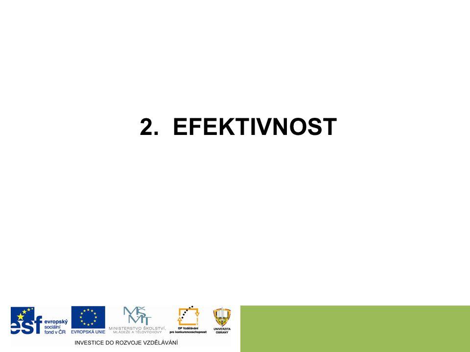 2 EFEKTIVNOST = existuje-li více činností, je situace efektivní tehdy, když jedna z těchto činností nemůže být zvýšena bez současného snížené jiné činnosti.