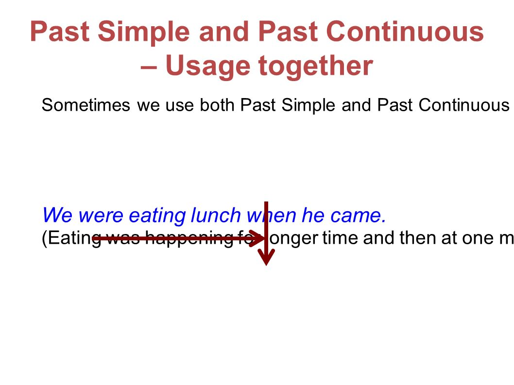 Past Simple and Past Continuous – Usage together Sometimes we use both Past Simple and Past Continuous in one sentence.