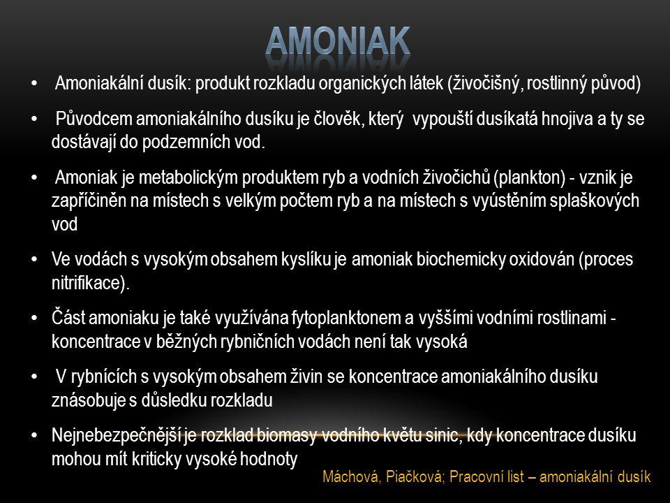 Amoniakální dusík: produkt rozkladu organických látek (živočišný, rostlinný původ) Původcem amoniakálního dusíku je člověk, který vypouští dusíkatá hn