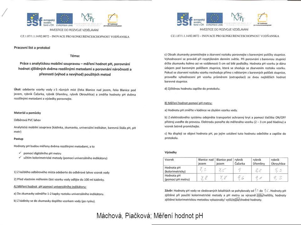 Máchová, Piačková; Měření hodnot pH
