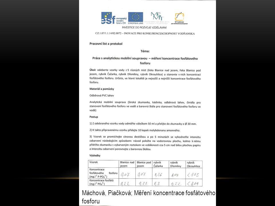 Máchová, Piačková; Měření koncentrace fosfátového fosforu