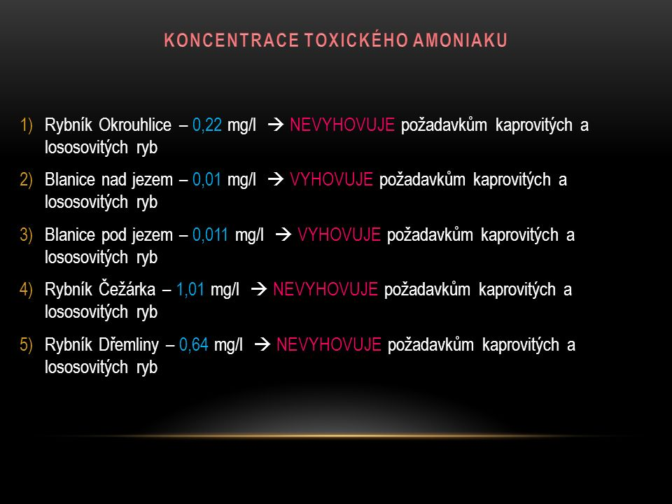 1)Rybník Okrouhlice – 0,22 mg/l  NEVYHOVUJE požadavkům kaprovitých a lososovitých ryb 2)Blanice nad jezem – 0,01 mg/l  VYHOVUJE požadavkům kaprovitý