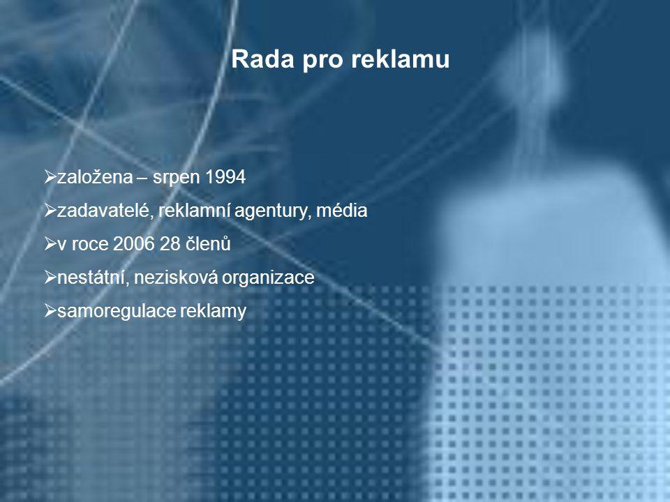  založena – srpen 1994  zadavatelé, reklamní agentury, média  v roce 2006 28 členů  nestátní, nezisková organizace  samoregulace reklamy Rada pro reklamu