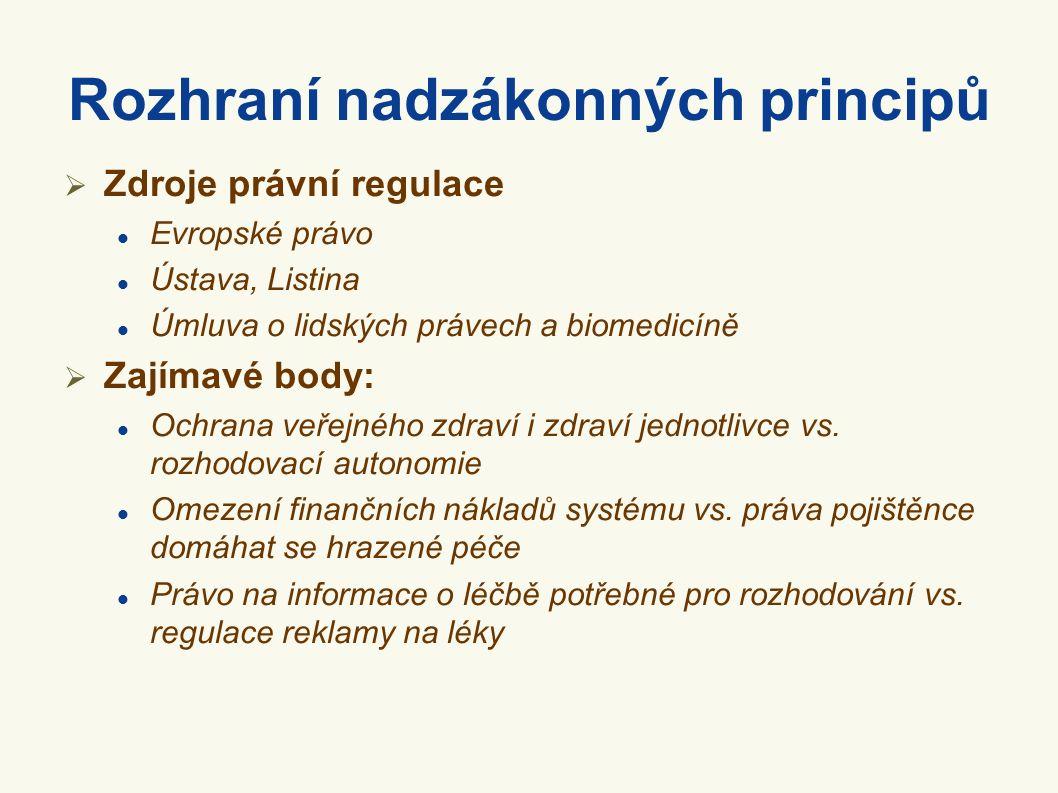 Rozhraní nadzákonných principů  Zdroje právní regulace Evropské právo Ústava, Listina Úmluva o lidských právech a biomedicíně  Zajímavé body: Ochrana veřejného zdraví i zdraví jednotlivce vs.