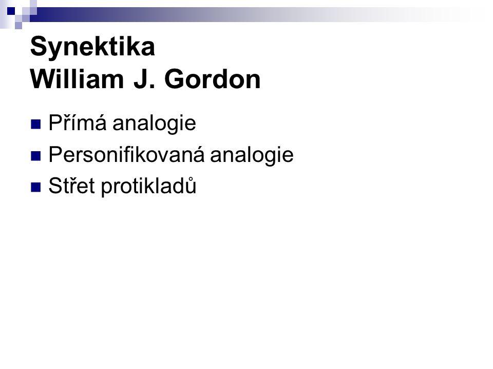 Synektika William J. Gordon Přímá analogie Personifikovaná analogie Střet protikladů