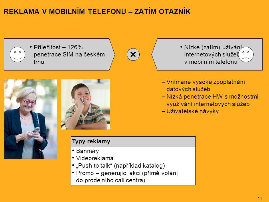 """11 REKLAMA V MOBILNÍM TELEFONU – ZATÍM OTAZNÍK Příležitost – 126% penetrace SIM na českém trhu Nízké (zatím) užívání internetových služeb v mobilním telefonu –Vnímané vysoké zpoplatnění datových služeb –Nízká penetrace HW s možnostmi využívání internetových služeb –Uživatelské návyky Bannery Videoreklama """"Push to talk (například katalog) Promo – generující akci (přímé volání do prodejního call centra) Typy reklamy"""