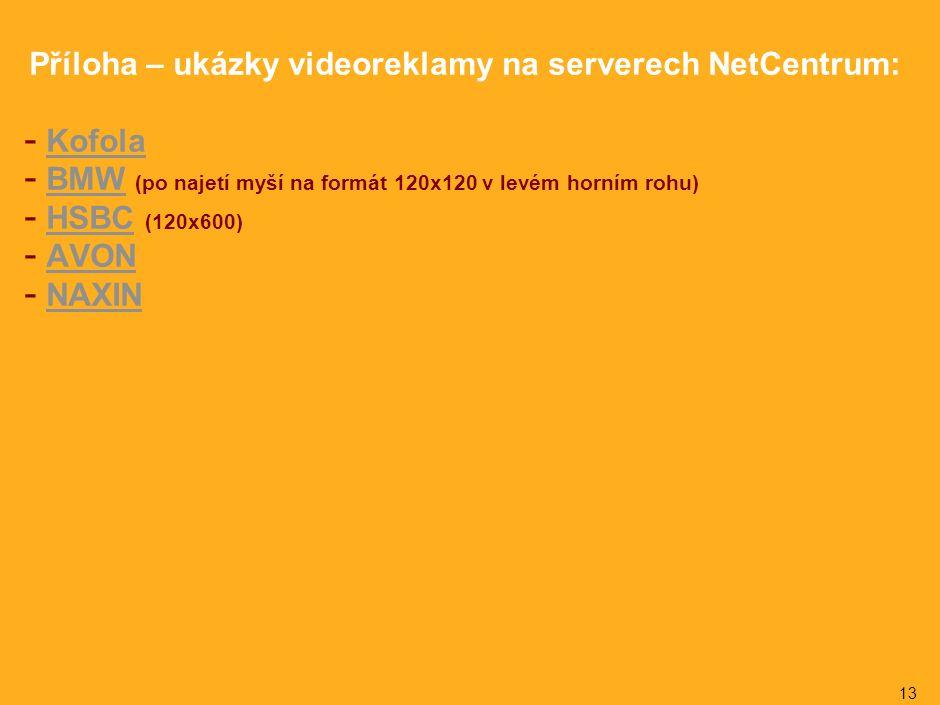 13 Příloha – ukázky videoreklamy na serverech NetCentrum: - KofolaKofola - BMW (po najetí myší na formát 120x120 v levém horním rohu)BMW - HSBC (120x600)HSBC - AVONAVON - NAXINNAXIN