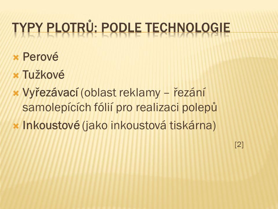  Perové  Tužkové  Vyřezávací (oblast reklamy – řezání samolepících fólií pro realizaci polepů  Inkoustové (jako inkoustová tiskárna) [2]
