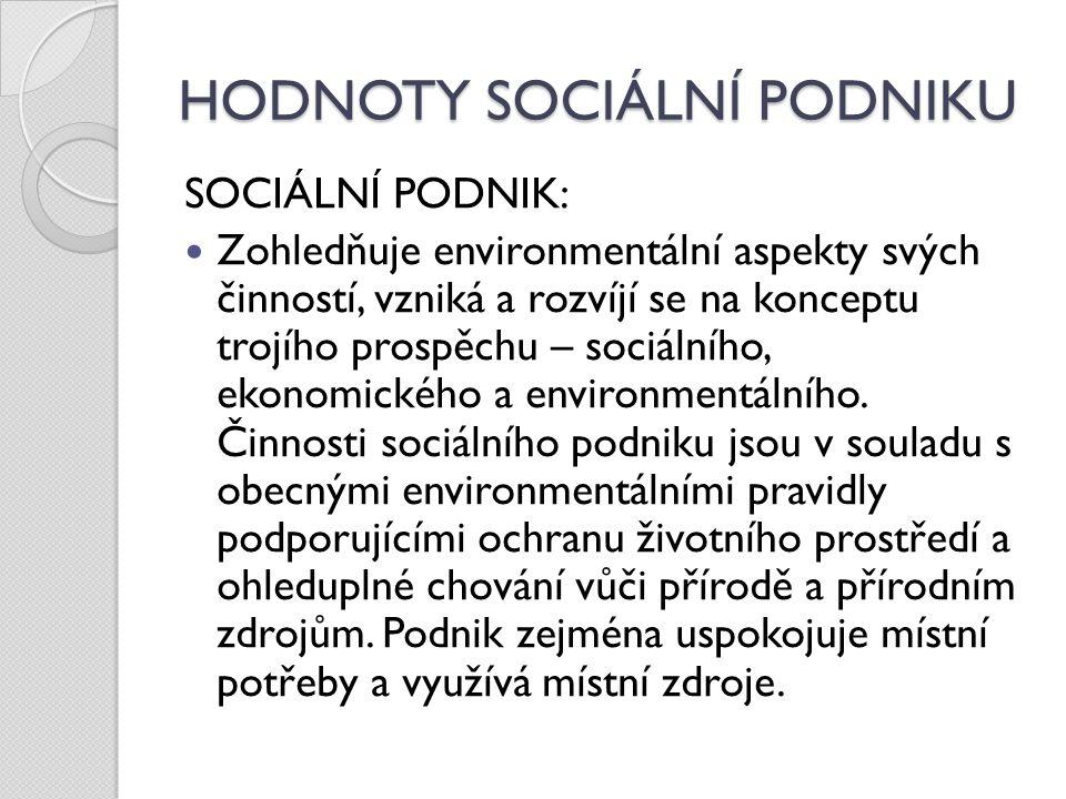HODNOTY SOCIÁLNÍ PODNIKU SOCIÁLNÍ PODNIK: Zohledňuje environmentální aspekty svých činností, vzniká a rozvíjí se na konceptu trojího prospěchu – sociálního, ekonomického a environmentálního.