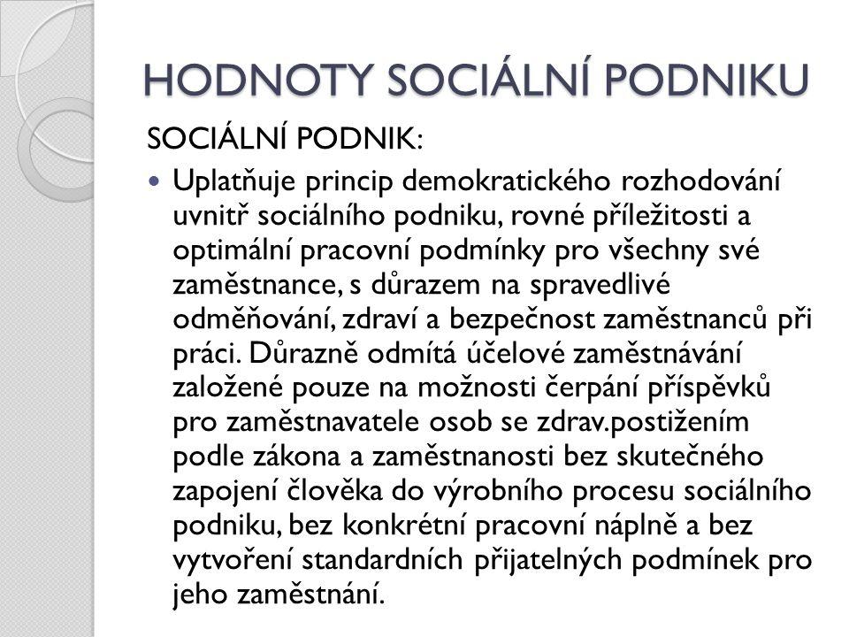 HODNOTY SOCIÁLNÍ PODNIKU SOCIÁLNÍ PODNIK: Usiluje o maximální možné dodržování smluv, plnění svých závazků, dodržování platební morálky.