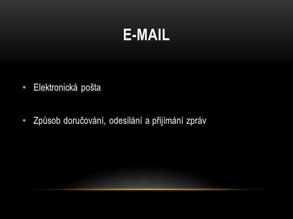 E-MAIL Elektronická pošta Způsob doručování, odesílání a přijímání zpráv