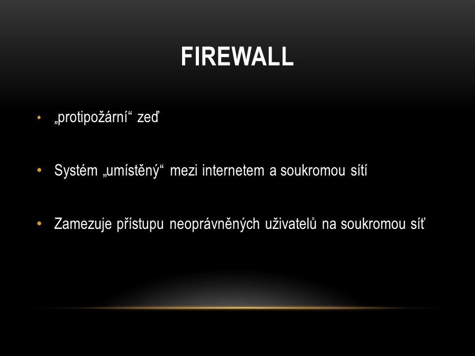 """FIREWALL """" protipožární zeď Systém """"umístěný mezi internetem a soukromou sítí Zamezuje přístupu neoprávněných uživatelů na soukromou síť"""