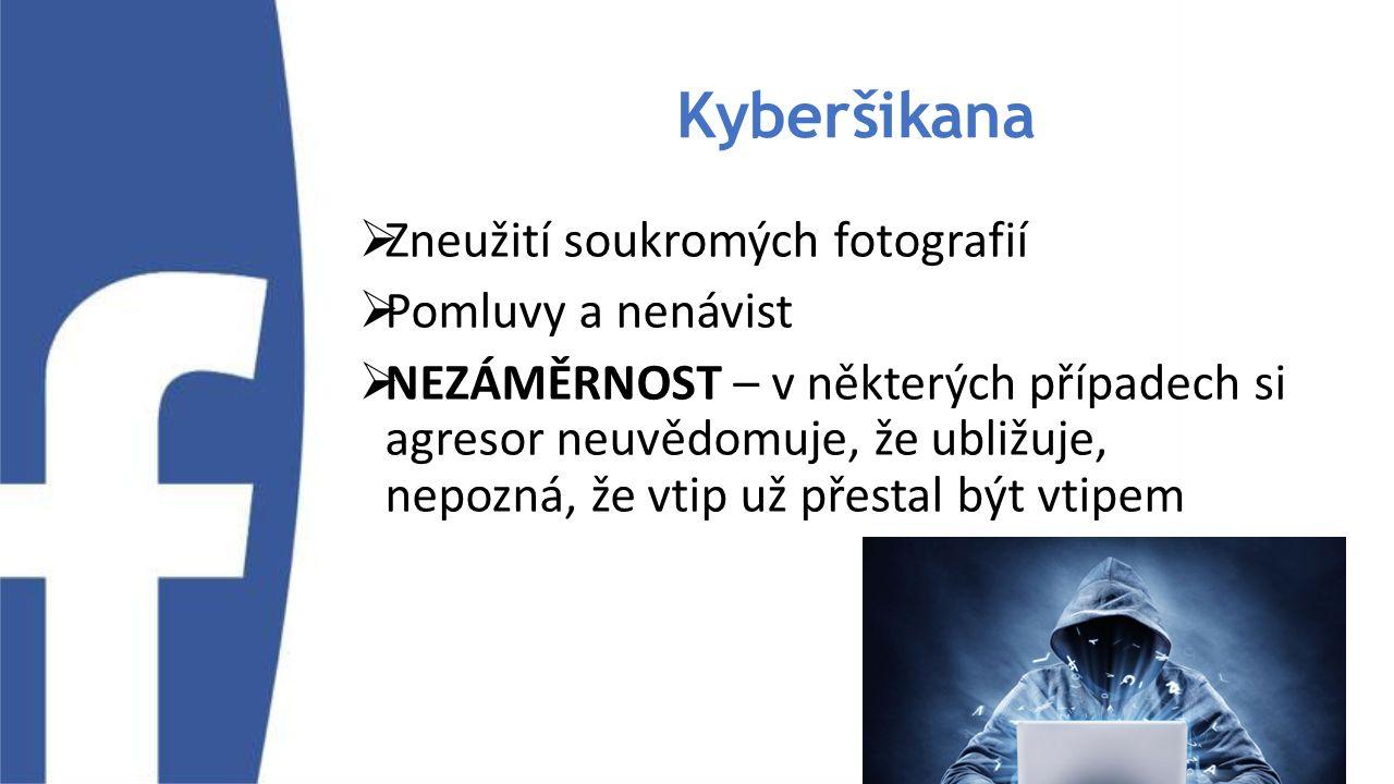 Kyberšikana  Zneužití soukromých fotografií  Pomluvy a nenávist  NEZÁMĚRNOST – v některých případech si agresor neuvědomuje, že ubližuje, nepozná,