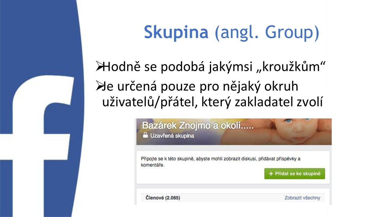 """Skupina (angl. Group)  Hodně se podobá jakýmsi """"kroužkům""""  Je určená pouze pro nějaký okruh uživatelů/přátel, který zakladatel zvolí"""