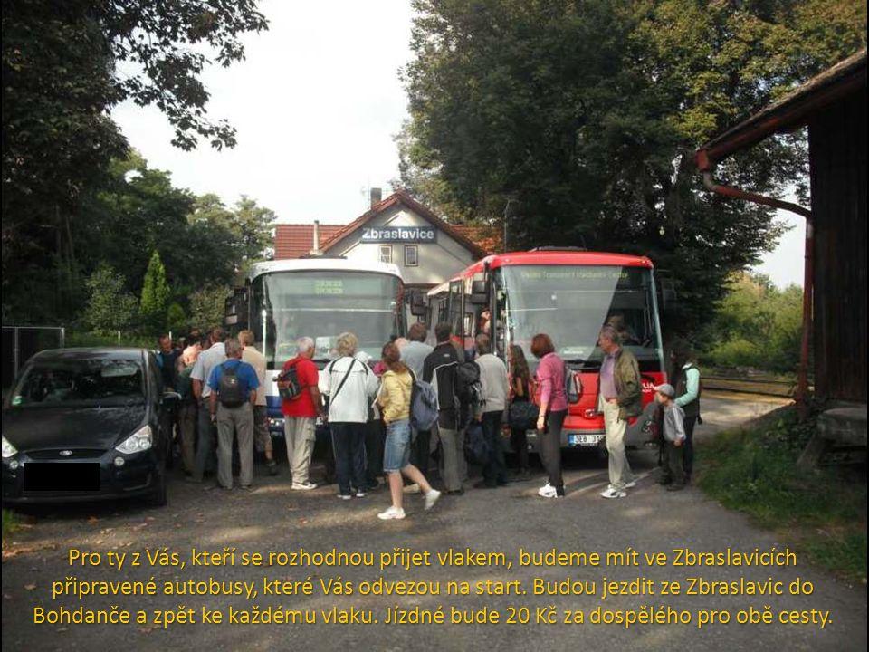 Pro ty z Vás, kteří se rozhodnou přijet vlakem, budeme mít ve Zbraslavicích připravené autobusy, které Vás odvezou na start.