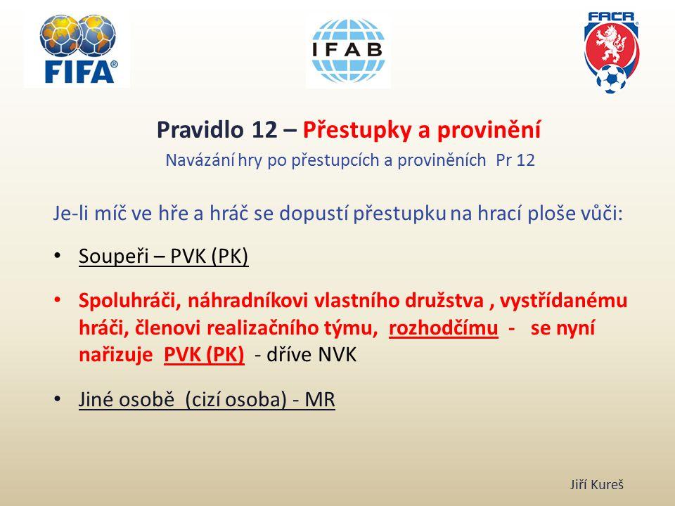 Pravidlo 12 – Přestupky a provinění Navázání hry po přestupcích a proviněních Pr 12 Je-li míč ve hře a hráč se dopustí přestupku na hrací ploše vůči: Soupeři – PVK (PK) Spoluhráči, náhradníkovi vlastního družstva, vystřídanému hráči, členovi realizačního týmu, rozhodčímu - se nyní nařizuje PVK (PK) - dříve NVK Jiné osobě (cizí osoba) - MR Jiří Kureš