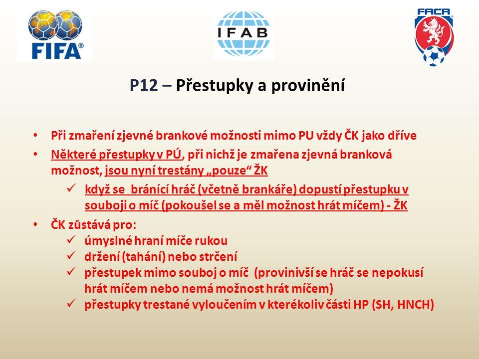 """P12 – Přestupky a provinění Při zmaření zjevné brankové možnosti mimo PU vždy ČK jako dříve Některé přestupky v PÚ, při nichž je zmařena zjevná branková možnost, jsou nyní trestány """"pouze ŽK když se bránící hráč (včetně brankáře) dopustí přestupku v souboji o míč (pokoušel se a měl možnost hrát míčem) - ŽK ČK zůstává pro: úmyslné hraní míče rukou držení (tahání) nebo strčení přestupek mimo souboj o míč (provinivší se hráč se nepokusí hrát míčem nebo nemá možnost hrát míčem) přestupky trestané vyloučením v kterékoliv části HP (SH, HNCH)"""