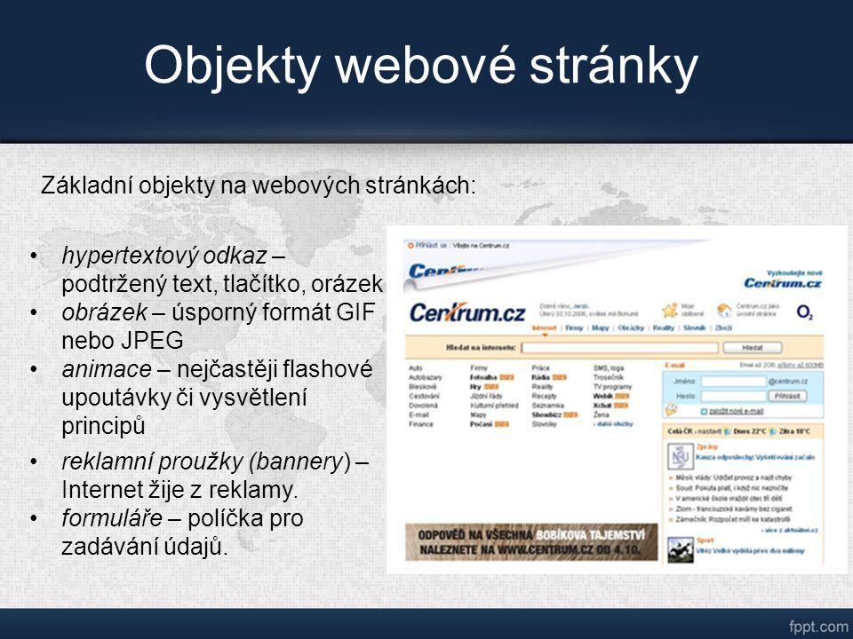 Objekty webové stránky hypertextový odkaz – podtržený text, tlačítko, orázek obrázek – úsporný formát GIF nebo JPEG animace – nejčastěji flashové upoutávky či vysvětlení principů reklamní proužky (bannery) – Internet žije z reklamy.