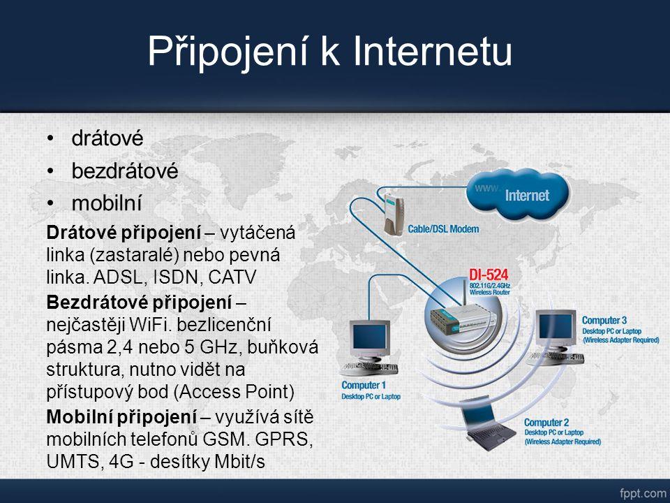 Připojení k Internetu drátové bezdrátové mobilní Drátové připojení – vytáčená linka (zastaralé) nebo pevná linka.