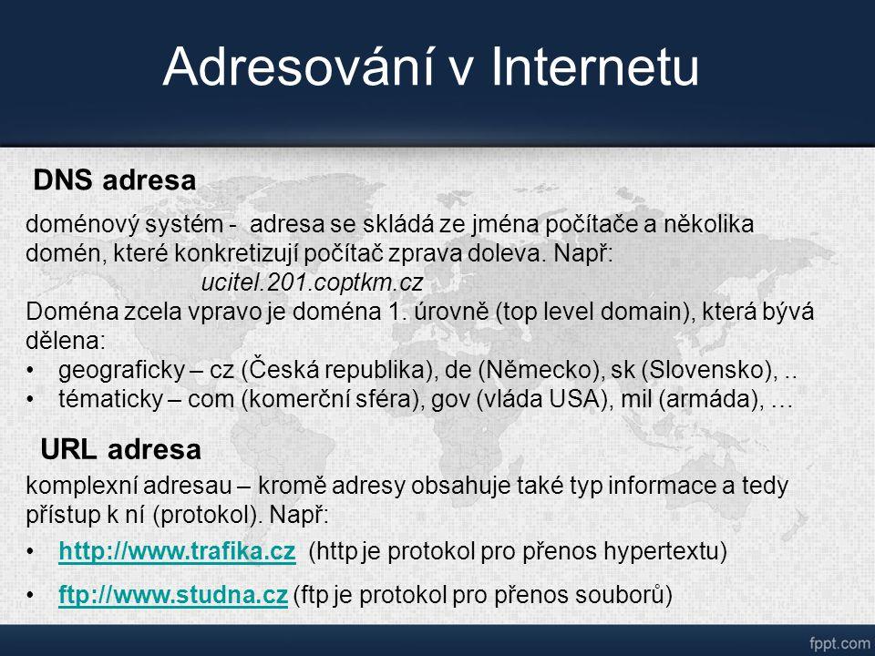 Adresování v Internetu DNS adresa doménový systém - adresa se skládá ze jména počítače a několika domén, které konkretizují počítač zprava doleva.