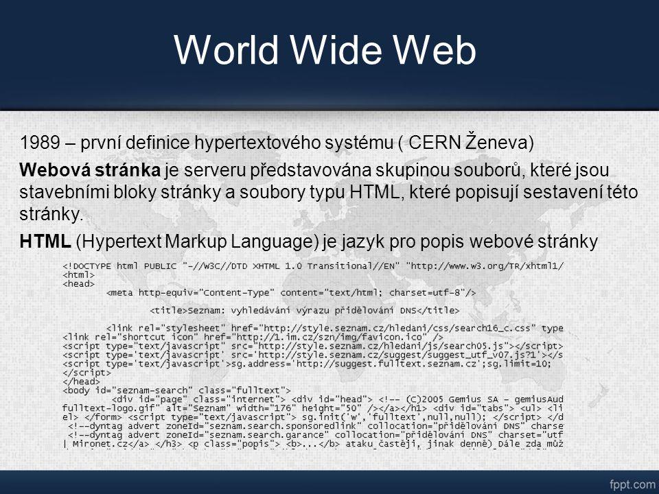 World Wide Web 1989 – první definice hypertextového systému ( CERN Ženeva) Webová stránka je serveru představována skupinou souborů, které jsou stavebními bloky stránky a soubory typu HTML, které popisují sestavení této stránky.