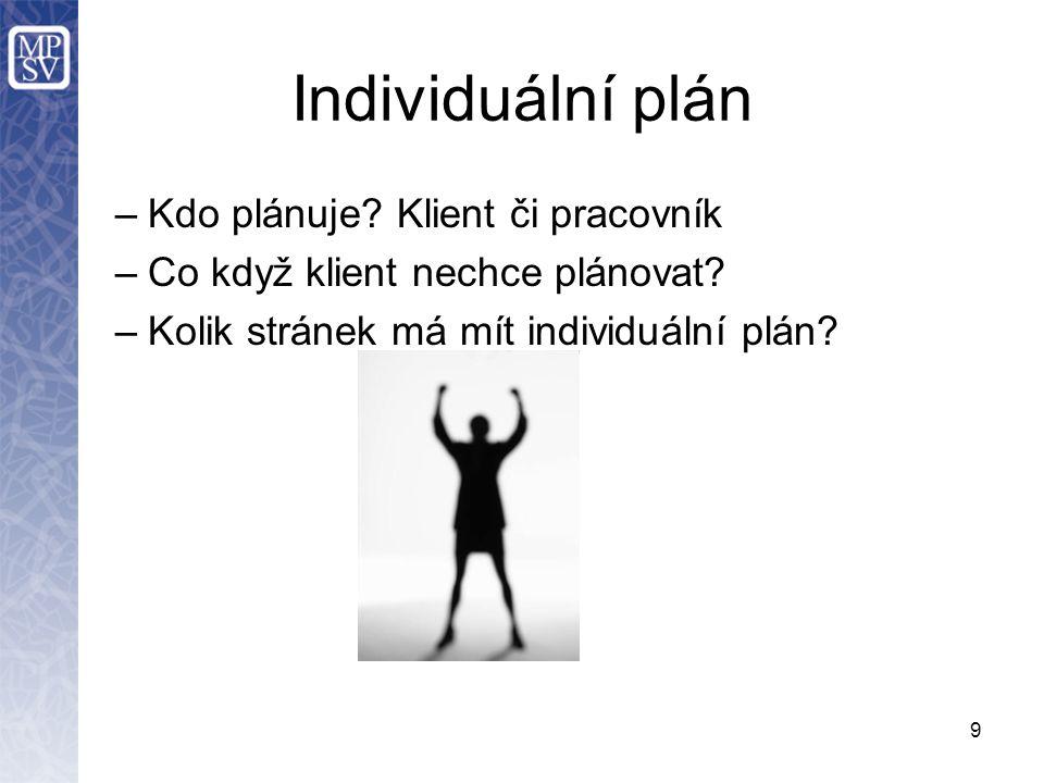Individuální plán –Kdo plánuje. Klient či pracovník –Co když klient nechce plánovat.