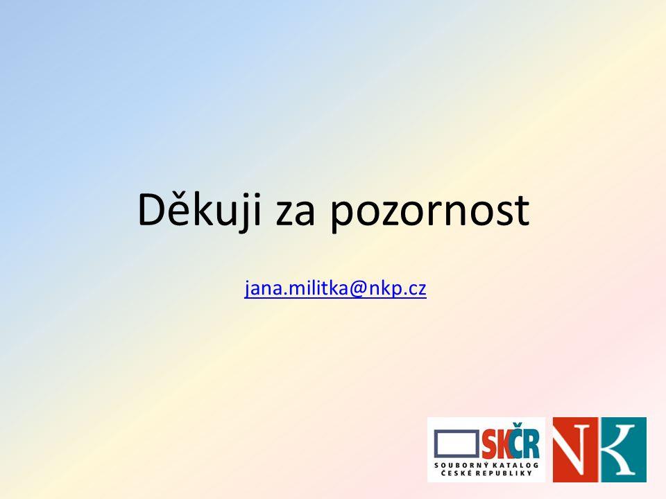 Děkuji za pozornost jana.militka@nkp.cz