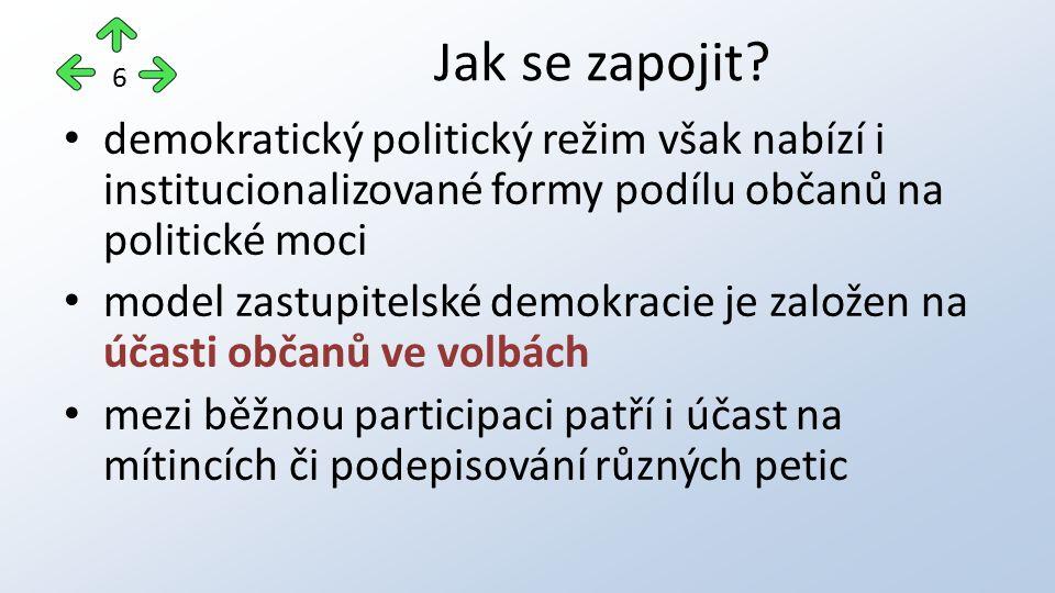 demokratický politický režim však nabízí i institucionalizované formy podílu občanů na politické moci model zastupitelské demokracie je založen na úča