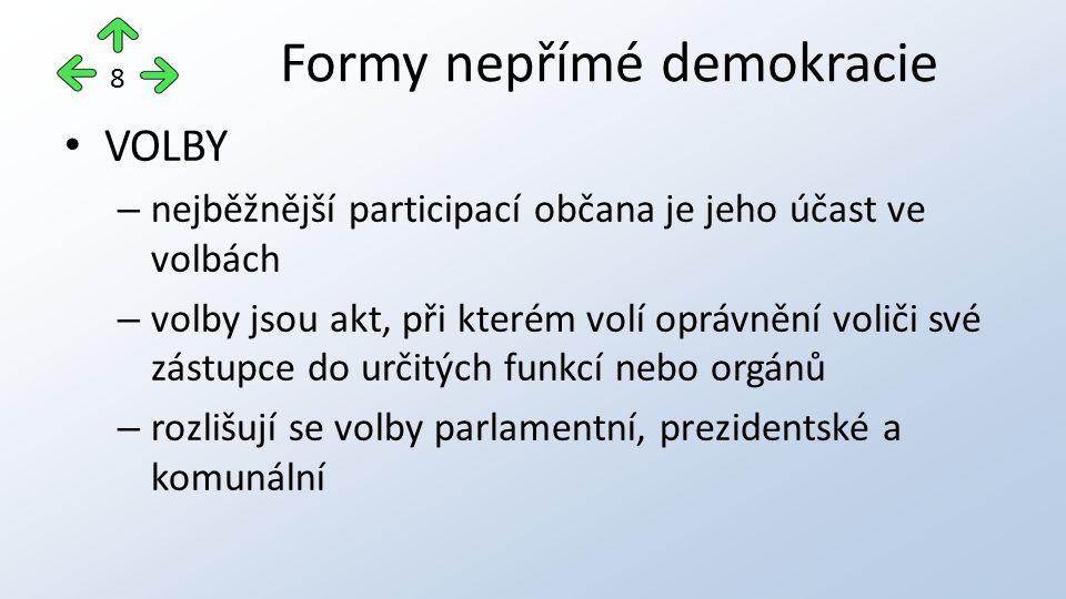 VOLBY – nejběžnější participací občana je jeho účast ve volbách – volby jsou akt, při kterém volí oprávnění voliči své zástupce do určitých funkcí nebo orgánů – rozlišují se volby parlamentní, prezidentské a komunální Formy nepřímé demokracie 8