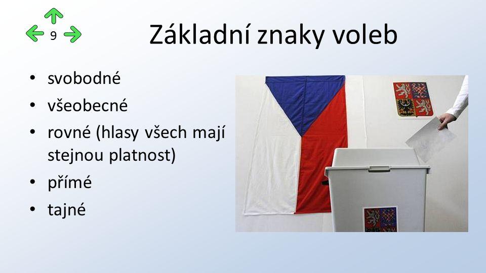 Základní znaky voleb svobodné všeobecné rovné (hlasy všech mají stejnou platnost) přímé tajné 9