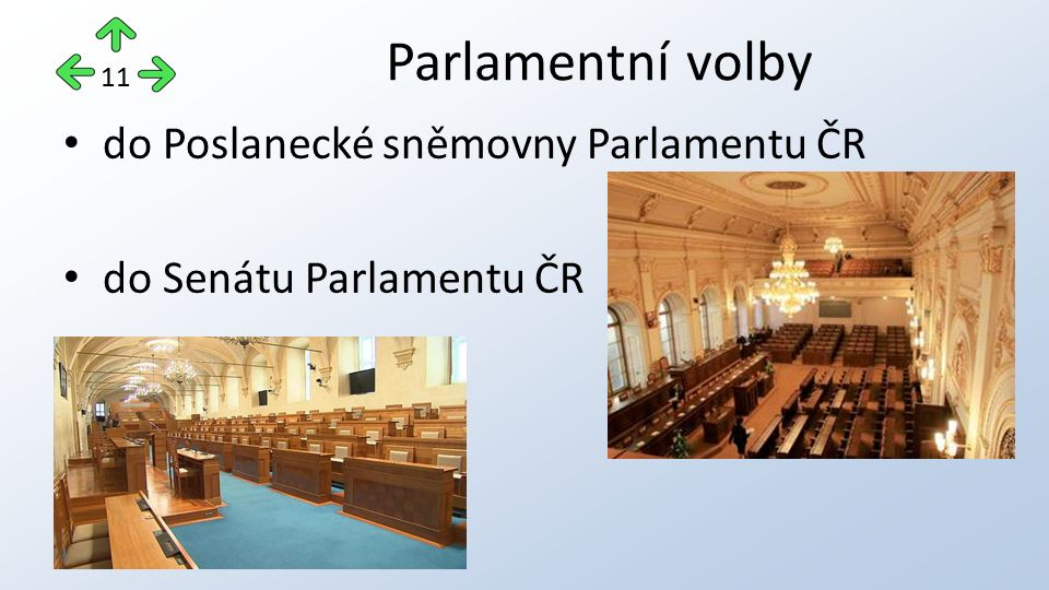 Parlamentní volby do Poslanecké sněmovny Parlamentu ČR do Senátu Parlamentu ČR 11