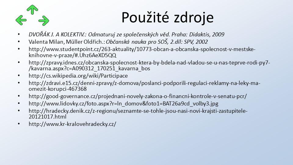 DVOŘÁK J. A KOLEKTIV.: Odmaturuj ze společenských věd. Praha: Didaktis, 2009 Valenta Milan, Müller Oldřich.: Občanská nauka pro SOŠ, 2.díl: SPV, 2002