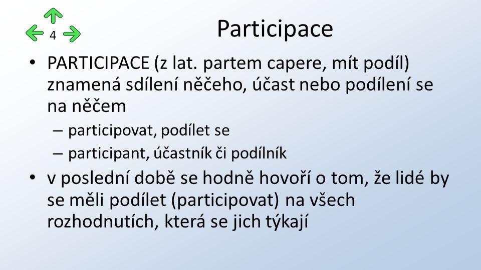 PARTICIPACE (z lat. partem capere, mít podíl) znamená sdílení něčeho, účast nebo podílení se na něčem – participovat, podílet se – participant, účastn