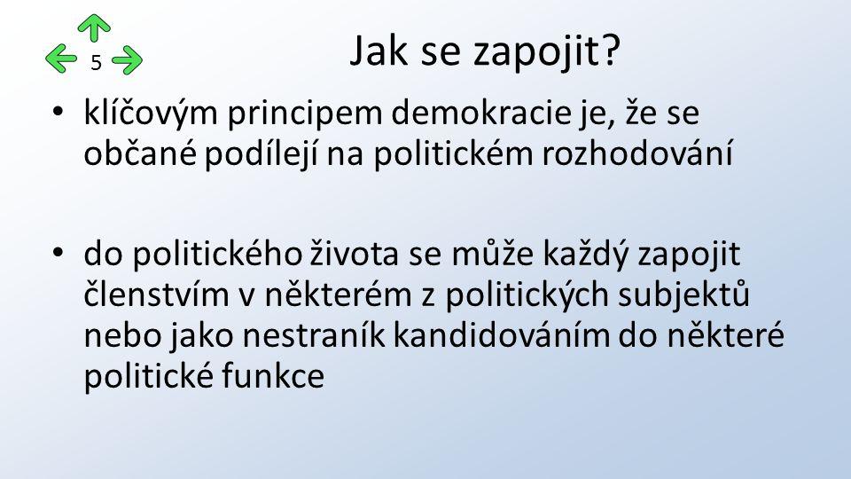 klíčovým principem demokracie je, že se občané podílejí na politickém rozhodování do politického života se může každý zapojit členstvím v některém z politických subjektů nebo jako nestraník kandidováním do některé politické funkce Jak se zapojit.