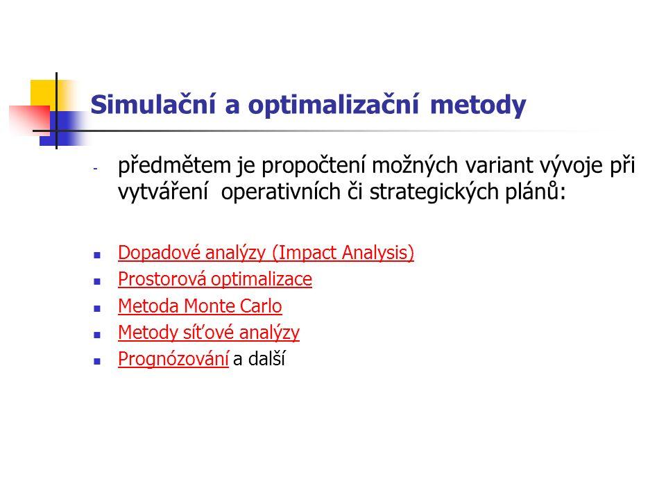Simulační a optimalizační metody - předmětem je propočtení možných variant vývoje při vytváření operativních či strategických plánů: Dopadové analýzy (Impact Analysis) Prostorová optimalizace Metoda Monte Carlo Metody síťové analýzy Prognózování a další Prognózování