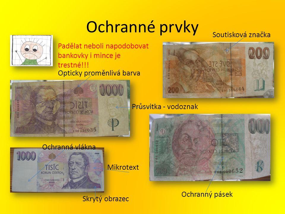 Ochranné prvky Padělat neboli napodobovat bankovky i mince je trestné!!! Průsvitka - vodoznak Ochranný pásek Ochranná vlákna Soutisková značka Mikrote