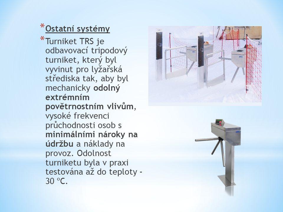* Ostatní systémy * Turniket TRS je odbavovací tripodový turniket, který byl vyvinut pro lyžařská střediska tak, aby byl mechanicky odolný extrémním povětrnostním vlivům, vysoké frekvenci průchodnosti osob s minimálními nároky na údržbu a náklady na provoz.