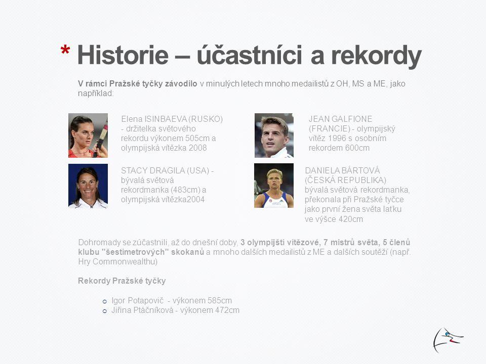 * Historie – účastníci a rekordy V rámci Pražské tyčky závodilo v minulých letech mnoho medailistů z OH, MS a ME, jako například: Elena ISINBAEVA (RUSKO) - držitelka světového rekordu výkonem 505cm a olympijská vítězka 2008 JEAN GALFIONE (FRANCIE) - olympijský vítěz 1996 s osobním rekordem 600cm STACY DRAGILA (USA) - bývalá světová rekordmanka (483cm) a olympijská vítězka2004 DANIELA BÁRTOVÁ (ČESKÁ REPUBLIKA) bývalá světová rekordmanka, překonala při Pražské tyčce jako první žena světa laťku ve výšce 420cm Dohromady se zúčastnili, až do dnešní doby, 3 olympijští vítězové, 7 mistrů světa, 5 členů klubu šestimetrových skokanů a mnoho dalších medailistů z ME a dalších soutěží (např.