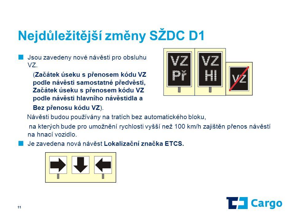 Nejdůležitější změny SŽDC D1 ■ Jsou zavedeny nové návěsti pro obsluhu VZ.